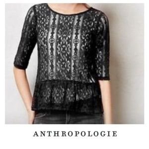 Anthropologie Weston Wear Black Lace Top Sz S